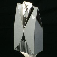 Grey Tuxedo wedding favor box for men