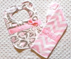 Personalized Burp Cloth and Bib Set with Bow - Baby Girl Light Tan and Light Pink Chevron and Leopard