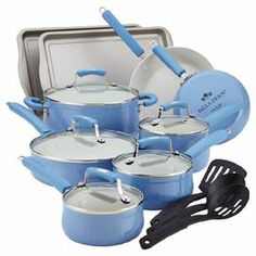 """An essential addition to any kitchen, this set of nonstick aluminum bakeware and cookware brings chef-worthy style home. Offers 4 pans and 2 skillets with porcelain enamel coating and glass lids, 2 baking sheets, and utensils.   Product: (2) Baking sheets(1) 1 Quart covered saucepan(1) 1.5 Quart covered saucepan(1) 2 Quart covered saucepan(1) 3 Quart covered saute pan(1) 6 Quart covered stockpot(1) 8"""" Skillet(1) 10"""" Skillet(1) Slotted turner(1) Slotted spoon (1) Solid spoonConstruction ..."""