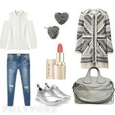 #Fashion #Polyvore #DodooKn #Style #RebeccaMinkoff #offshouldershirt #shirt #chemise #whiteshirt #chemiseblanche #MANGO #bluejeans #distressedjeans #RebeccaTaylor #coat #manteau #NIKE #AirMaxThea #sneakers #baskets #Givenchy #Nightingale #tote #fourretout #BetseyJohnson #studearrings #knotearrings #lotus #lipstick by comme_des_sapeurs