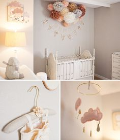 Peach cloud and Star mobile for nursery MAY with door leptitpapillon