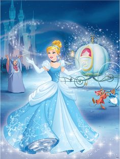 Cinderella and her Fairy Godmother with pumpkin carriage