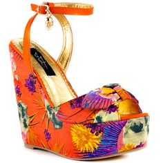 Iron Fists Multi-Color Reina Muerte Wedge - Orange for 74.99 direct from heels.com