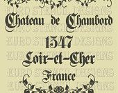 Euro Stencil Design .. Replica of a Feedsack Sack  French Chateau de Chambord Stencil for burlap pillows, bedding, sign painting 12 x 12 inch