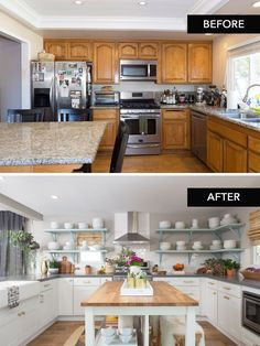 This kitchen transformation might be one of my favorites! Home Renovation, Home Remodeling, Interior Design Living Room, Living Room Designs, Living Room Ornaments, Home Decor Kitchen, Kitchen Ideas, Kitchen Small, Kitchen Modern