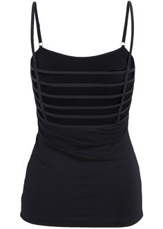 Black Grid Strapped Vest Top