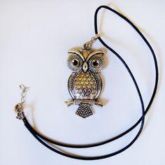 Leder -  Halskette mit Eule / Eulen - Anhänger