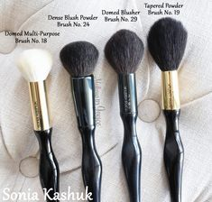 Sonia Kashuk Domed Multi-Purpose Brush No.18 ($15.99), Dense Blush Powder Brush No.24 ($17.99), Domed Blusher Brush No.29 ($17.99) and Tapered Powder Brush No.19 ($17.99)