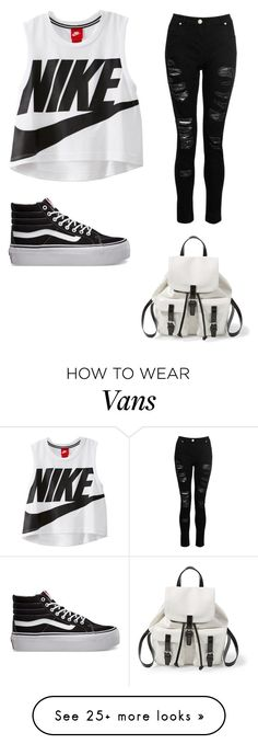 My First Polyvore Outfit by hazeltheamazing on Polyvore featuring NIKE, Dorothy Perkins, Vans and Steve Madden