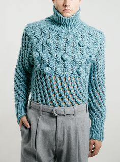 TMD BLUE CHUNKY ROLL NECK JUMPER