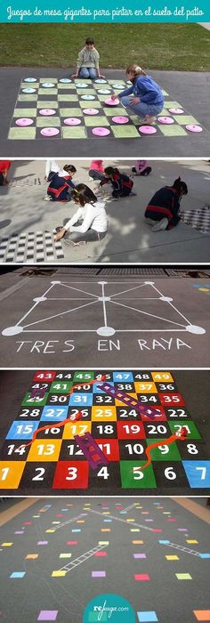 Áreas exteriores de juego: colegios y hogares Giant board games to paint on the patio floor and play you can find similar pins below.