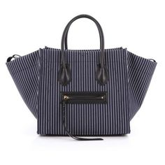 Pre-Owned Phantom Handbag Striped Canvas and Leather Medium (22.763.520 IDR) ❤ liked on Polyvore featuring bags and handbags