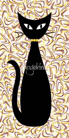 Boomerang Cat in Yellow by Donna Mibus