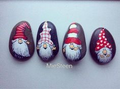Gnomes Pebble Painting, Tole Painting, Pebble Art, Christmas Rock, Christmas Nails, Christmas Crafts, Xmas, Hygge Christmas, Stone Crafts