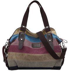 Offerta di oggi - Coofit Multi-Color-Striped Damen Handtasche Umhängetasche Schultasche Canvas Shopper Tasch a Eur. Crossbody Shoulder Bag, Shoulder Handbags, Leather Shoulder Bag, Shoulder Bags, Crossbody Bags, Shoulder Strap, Canvas Handbags, Tote Handbags, Ladies Handbags