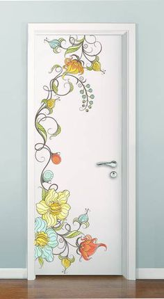 porta com adesivos de parede de flores