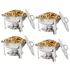 Super Deal Pack of 4 Full Size Round Chafing Dish 5 Quart Stainless Steel Tray Buffet Catering, Dinner Serving Buffer Warmer Set, Pack of 4 Hotel Breakfast, Gourmet Breakfast, Breakfast For Dinner, Catering Food, Wedding Catering, Catering Ideas, Wedding Reception, Raw Food Recipes, Great Recipes