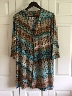 CHICOS SZ 3 TRAVELERS COLLECTION CHEVRON PATTERN, TIE FRONT DUSTER JACKET, EUC #ChicosTravelersCollection #TieFrontDuster