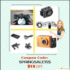 """We are happy to announce $15 OFF on THE NEW Pyle-Sport 12.0 megapixel 1080p ACTION Camera 2.4"""" #touchscreen Coupon Code: SPRINGSALE15$.  Orders over: $75.00.  Expiry: 1-May-2016.  Click here to avail coupon: http://www.coast2coastbargains.com/products?utm_source=Pinterest&utm_medium=Orangetwig_Marketing&utm_campaign=Coupon_Code #gopro #goprocamera  #bargainbin #instapic #picoftheday #extremesports #instagirl"""