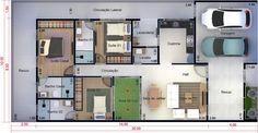 Planta de casa térrea com 3 suítes. Planta para terreno 10x20 Custom Woodworking, Woodworking Projects Plans, Garage Design, House Design, Casas The Sims Freeplay, Future House, My House, Suites, Small House Plans