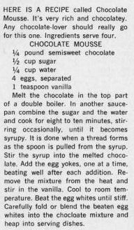 Dying for Chocolate: Chocolate Mousse Round-up & Vintage Recipe Retro Recipes, Old Recipes, Vintage Recipes, Cooking Recipes, Jello Pudding Desserts, Batter Recipe, Chocolate Mousse Recipe, Chocolate Lovers, Chocolate Chocolate