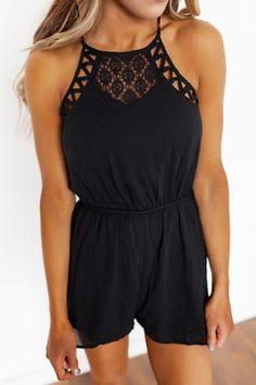 Black Lace/Strappy Detail Romper - Dottie Couture Boutique