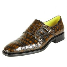 8bf5d7c33fb4 Men s Alligator Leather Double Buckle Monk Strap Cap-Toe Dress Shoes-Brown  Brown Dress