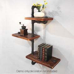 3 Level Rustic Bookshelf Industrial Pipe and Wood Shelf Adjustable Wall Mount