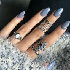 Blue grey acrylic nails
