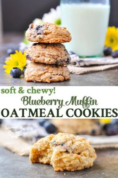 These thick, soft, and chewy Blueberry Muffin Oatmeal Cookies are a delicious option for breakfast, snack, or even dessert! Blueberry Oatmeal Muffins, Blue Berry Muffins, Oatmeal Cookies, Blueberry Cookies, Gourmet Recipes, Cookie Recipes, Dessert Recipes, Healthy Desserts, Healthy Food