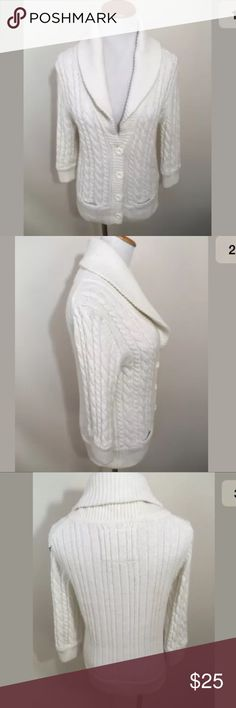 """American Eagle White Angora Blend Cable Sweater American Eagle White Cotton Alpaca Angora Blend Cable Knit Button Sweater Large. Excellent condition! Soft and cozy. Clean and comes from smoke free home. Questions welcomed! Armpit to armpit: 17"""" across  Sleeve length: 17"""" Length: 22.5"""" American Eagle Outfitters Sweaters Cardigans"""