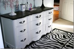 Two-tone dresser. This also makes me want to put a new, more decorative top on the dresser I've had since Two-tone dresser. This also makes me want to put a new, more decorative top on the dresser I've had since childhood. Black And White Dresser, Black And White Furniture, Black White, White Zebra, Furniture Makeover, Home Furniture, Dresser Makeovers, Dresser Furniture, Steel Furniture