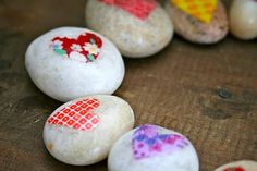 Day 62- Paint and modge podge rocks for your treasure box.