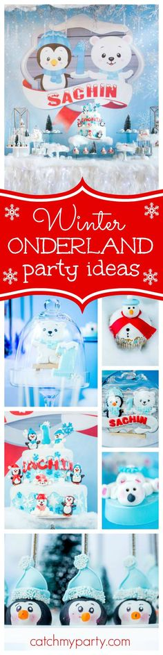 Come in from the cold and take a look at this amazing Winter Onderland 1st Birthday Party! The penguin cake pops are adorable!! See more party ideas and share yours at http://CatchMyParty.com