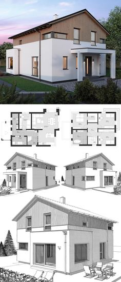 Modern Country Style Architecture Design House Plan ELK Haus 140 - Dream Home Ideas with Open Floor Layout by ELK Fertighaus - Arquitecture Contemporary European Style House Plans and Interior - HausbauDirekt. Modern Architecture Design, Architecture Sketchbook, Architecture Old, Architecture Portfolio, Modern Country Style, European Style, Floor Layout, House Goals, New Homes
