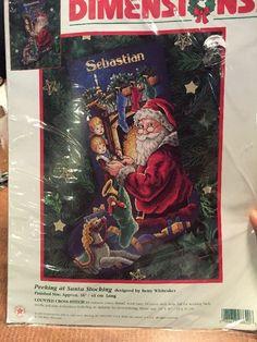Dimensions PEEKING AT SANTA Counted Cross Stitch Christmas Stocking Kit #Dimensions #ChristmasStocking