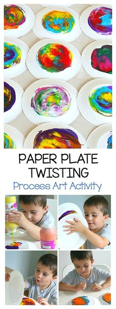 Process Art Activity for Kids: Paper Plate Twisting! Easy art project for preschool and kindergarten and a fun way to explore color mixing! art for kids Paper Plate Twisting Process Art Activity for Kids - Buggy and Buddy Toddler Art, Toddler Crafts, Crafts For Kids, Fun Crafts, Art Activities For Kids, Preschool Activities, Painting Activities, Process Art Preschool, Preschool Learning