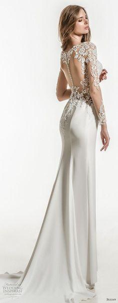 jillian 2018 bridal long sleeves sweetheart neckline heavily embellished bodice clean skirt elegant sheath wedding dress sheer button back short train (12) bv -- Jillian 2018 Wedding Dresses