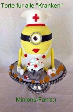 Pretty Cakes, Cute Cakes, Beautiful Cakes, Amazing Cakes, Torta Minion, Bolo Minion, Minion Cakes, Fondant Cakes, Cupcake Cakes