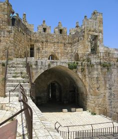 The east tower of the Damascus Gate on the wall of the Old City of Jerusalem. The gate is complex and has several levels that you can walk around on.