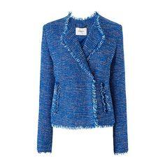 Lola Frayed Blue Tweed Jacket ❤ liked on Polyvore featuring outerwear, jackets, tweed jacket, blue tweed jacket, lapel jacket and blue jackets
