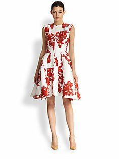 Thom Browne Floral Lace-Print Silk Dress