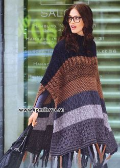 Another knitted poncho - posted for inspiration only. A crocheted poncho this length would be awesome! Knit Or Crochet, Crochet Scarves, Crochet Shawl, Crochet Clothes, Irish Crochet, Knitted Poncho, Crochet Fashion, Loom Knitting, Pulls