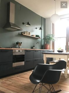Kungsbacka – # Innenraum - New Sites Ikea Kitchen Design, Kitchen Wall Colors, Home Decor Kitchen, Interior Design Kitchen, New Kitchen, Black Ikea Kitchen, Green Kitchen Walls, Black Kitchens, Home Kitchens