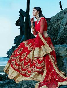 Red latest bridal wear Punjabi ghagra choli in A line