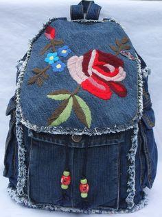 Denim patchwork backpack
