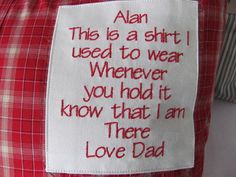 Memory Pillows from Shirts with Shirt Poem This by PinkysEmporium
