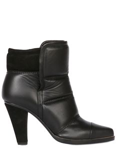 CHLOE' - 90MM CALF LEATHER PADDED ANKLE BOOTS - LUISAVIAROMA