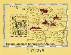 REPÚBLICA DEMOCRÁTICA ALEMANA, 1989 Hoja recuerdo. Thomas Müntzer, teólogo alemán del siglo XVI. Mapa que ubica algunas de las poblaciones importantes del centro-este de Alemania, región que recorrió Müntzer.