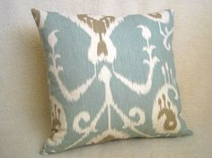 Love this Ikat Decorative Pillow - Light Blue - Tan - Cream - 18 inch - Cream Pillows, Ikat Pillows, Decorative Pillows, Living Room Pillows, My Living Room, Pillow Cover Design, Pillow Covers, Blue Yellow Rooms, Pillow Forms